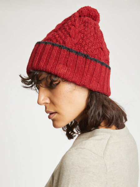 Jordunn Wool Beanie Hat in Redcurrant Red by Thought-bamboofeet