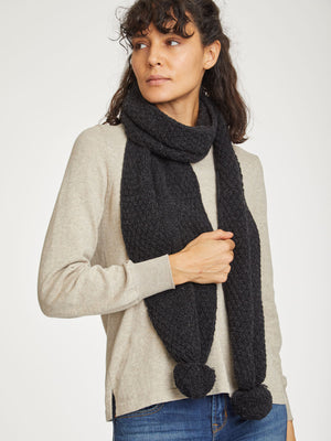 Jordunn Wool Scarf in Raven Black by Thought-bamboofeet