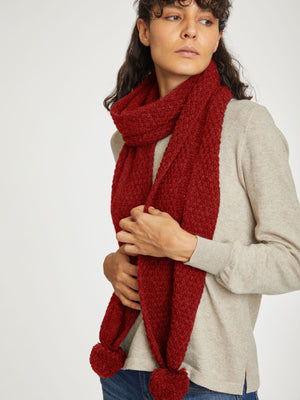 Jordunn Wool Scarf in Redcurrant Red by Thought-bamboofeet