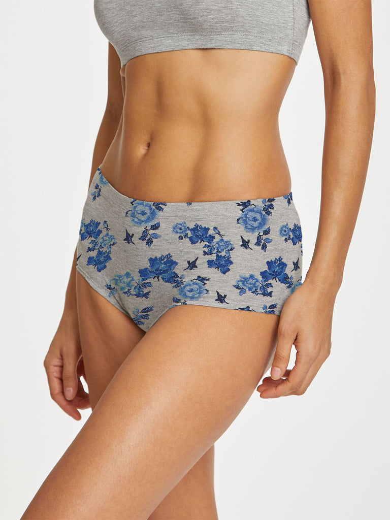 Reanna Womens Bamboo Full Brief in Floral Grey Marle by Thought-bamboofeet