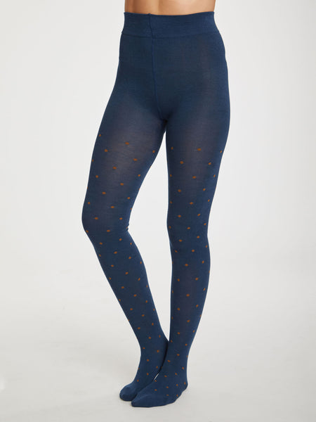 Spot Bamboo Tights in Petrol Blue by Thought-bamboofeet