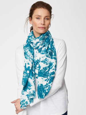 Toile De Jouy Printed Bamboo Scarf in Lagoon Blue by Thought-bamboofeet