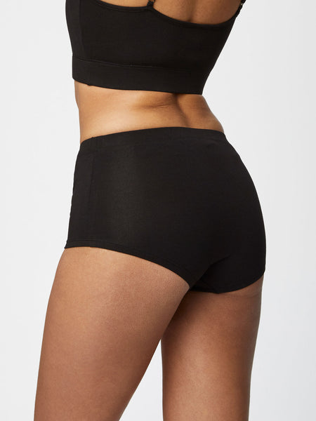 Hannah Womens Plain Bamboo Full Briefs in Black by Thought-bamboofeet