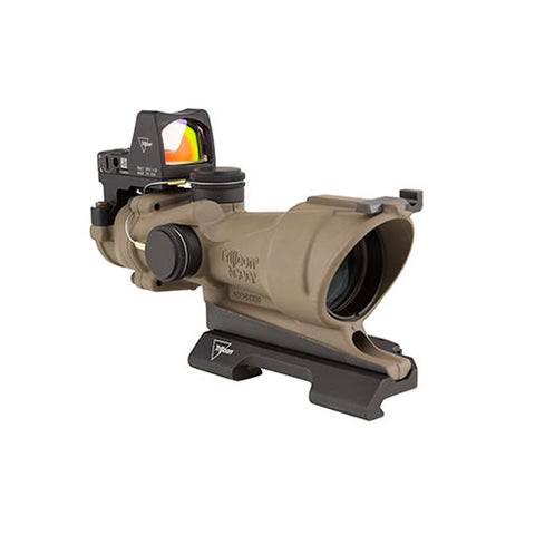 Trijicon ACOG 4x32mm Dual Illuminated Scope  Amber Crosshair Reticle with 3.25 MOA RMR Type 2 Sight, Flat Dark Earth - Clear Sight Scopes