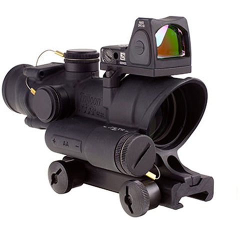 Trijicon ACOG 4x32mm Dual Illuminated Scope Adj, .223 Crosshair Reticle, TA51 Mount & 3.25 MOA RMR Type 2 Red Dot Sight, Blk - Clear Sight Scopes