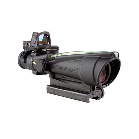Trijicon ACOG 3.5x35mm Dual Illuminated Scope Green Chevron .223 Ballistic Reticle, 3.25 MOA RMR Type 2 Sight/TA51 Mount, Blk - Clear Sight Scopes