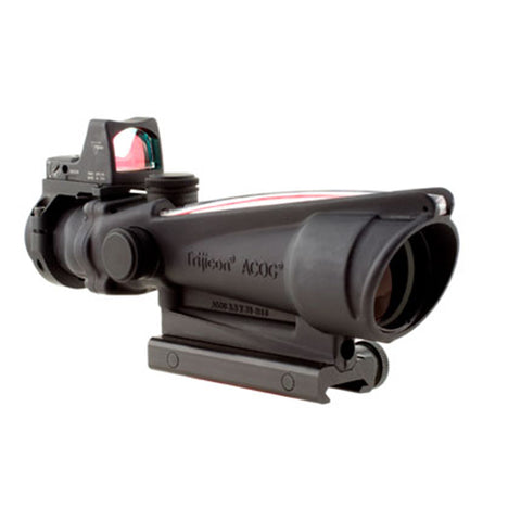 Trijicon ACOG 3.5x35mm Dual Illuminated Scope Red Chevron .223 Ballistic Reticle, 3.25 MOA RMR Type 2 Sight, TA51 Mount, Black - Clear Sight Scopes