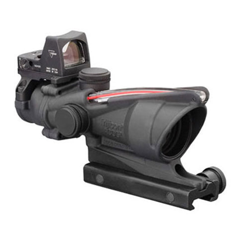 Trijicon ACOG 4x32mm Dual Illuminated Scope Red Chevron .223 Ballistic Ret, 3.25 MOA RMR Type 2 Sight, TA51 Mount, CK S Gray - Clear Sight Scopes