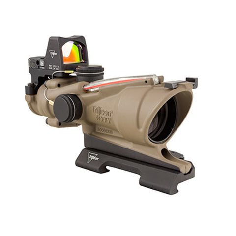 Trijicon ACOG 4x32mm Dual Illuminated Scope Red Crosshair Reticle with 3.25 MOA RMR Type 2 Sight, Flat Dark Earth - Clear Sight Scopes