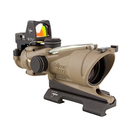 Trijicon ACOG 4x32mm Dual Illuminated Scope Red Chevron .223 Ballistic Ret, 3.25 MOA RMR Type 2 Sight, TA51 Mount, CK FDE - Clear Sight Scopes