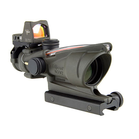 Trijicon ACOG 4x32mm Dual Illuminated Scope Red Chevron .223 Ballistic Ret, 3.25 MOA RMR Type 2 Sight, TA51 Mount, CK ODG - Clear Sight Scopes