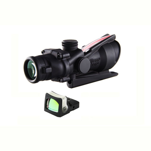 Trijicon ACOG 4x32mm Dual Illuminated Scope Red Crosshair .223 Reticle with 7.0 MOA RMR Sight, Black - Clear Sight Scopes