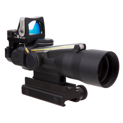 Trijicon ACOG 3x30mm Compact Dual Illuminated Scope Amber Chevron .223/62gr Ball Reticle, RMR 9.0 MOA Amber Dot, Black - Clear Sight Scopes