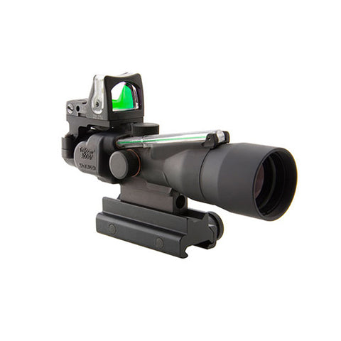 Trijicon ACOG 3x30mm Compact Dual Illuminated Scope Green Chevron .223/62gr Ball Reticle, RMR 9.0 MOA Green Dot, Black - Clear Sight Scopes