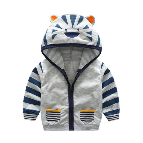 Baby Boys Animal Pattern Zipper Hooded Jacket - Hiccup Baby