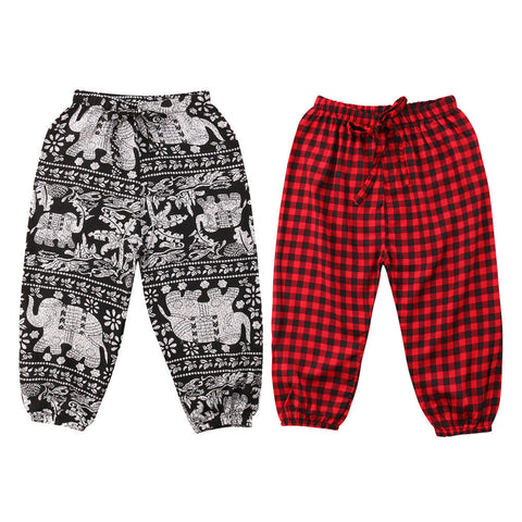 Toddler Baby Boy Checks/Cute Elephant Long Pants - Hiccup Baby