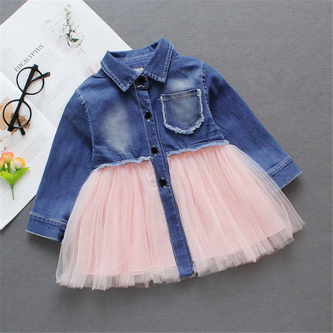 Toddler Denim Tutu Tulle Princess Dress - Hiccup Baby