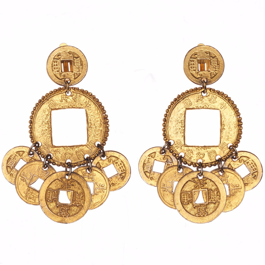 Asian Coin Chandelier Earring