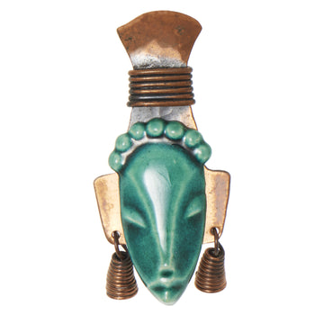 TRIBAL MASK BROOCH