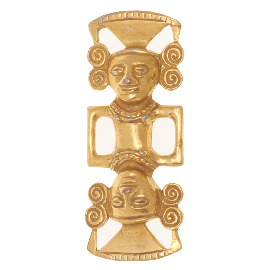 MAYAN DOUBLE HEAD BROOCH