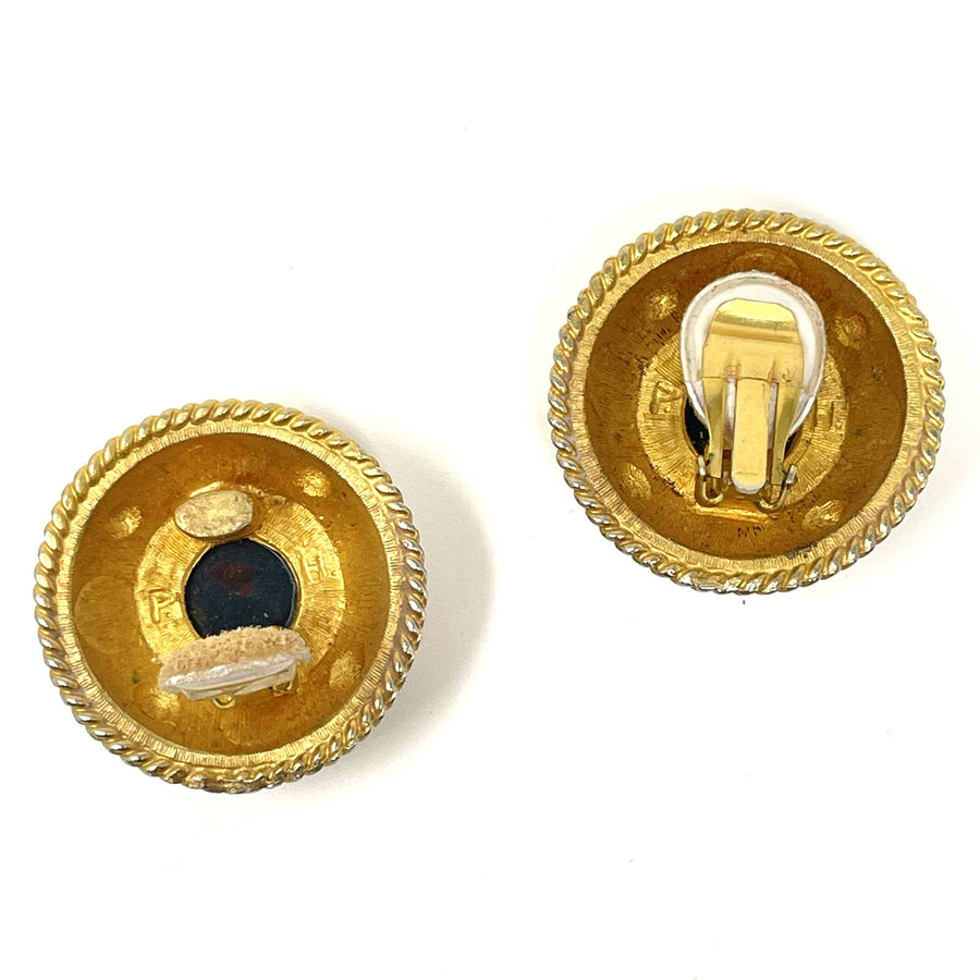 PATTI HORN MEDALLION EARRINGS