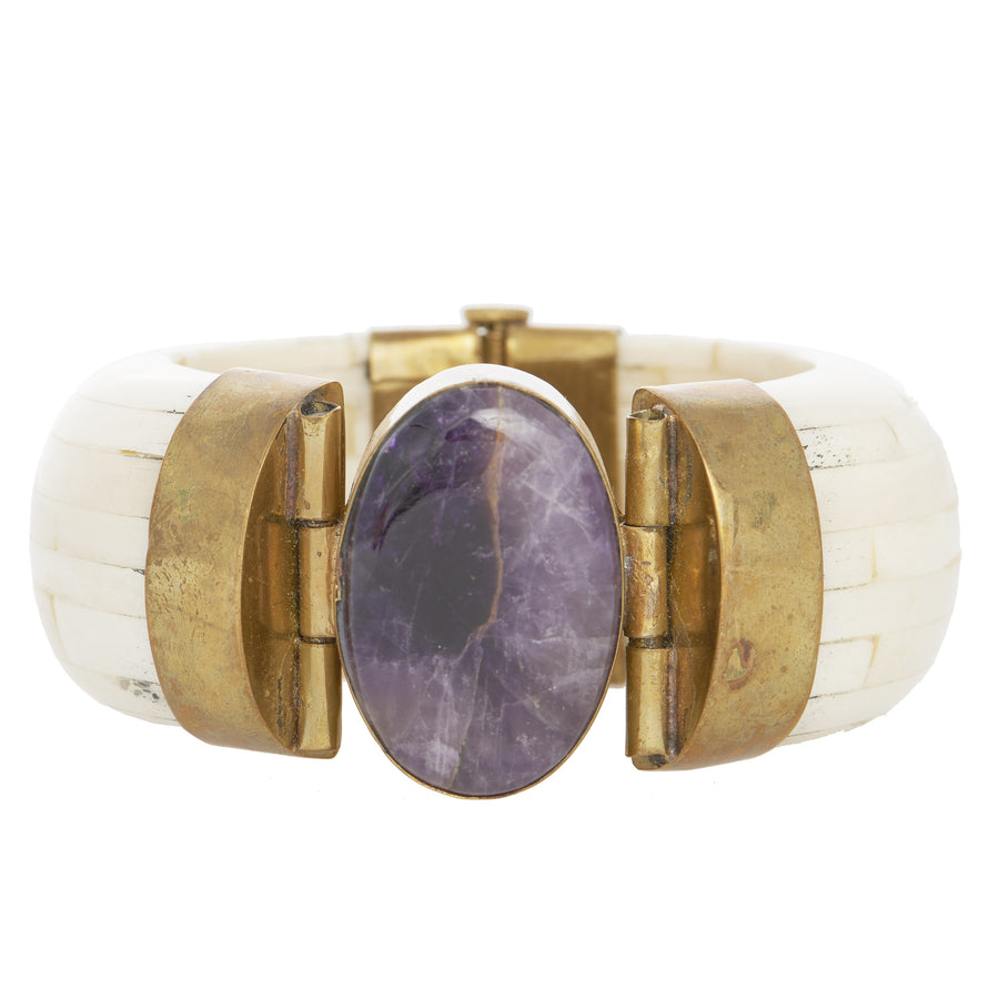 Amethyst and Bone Hinged Bangle