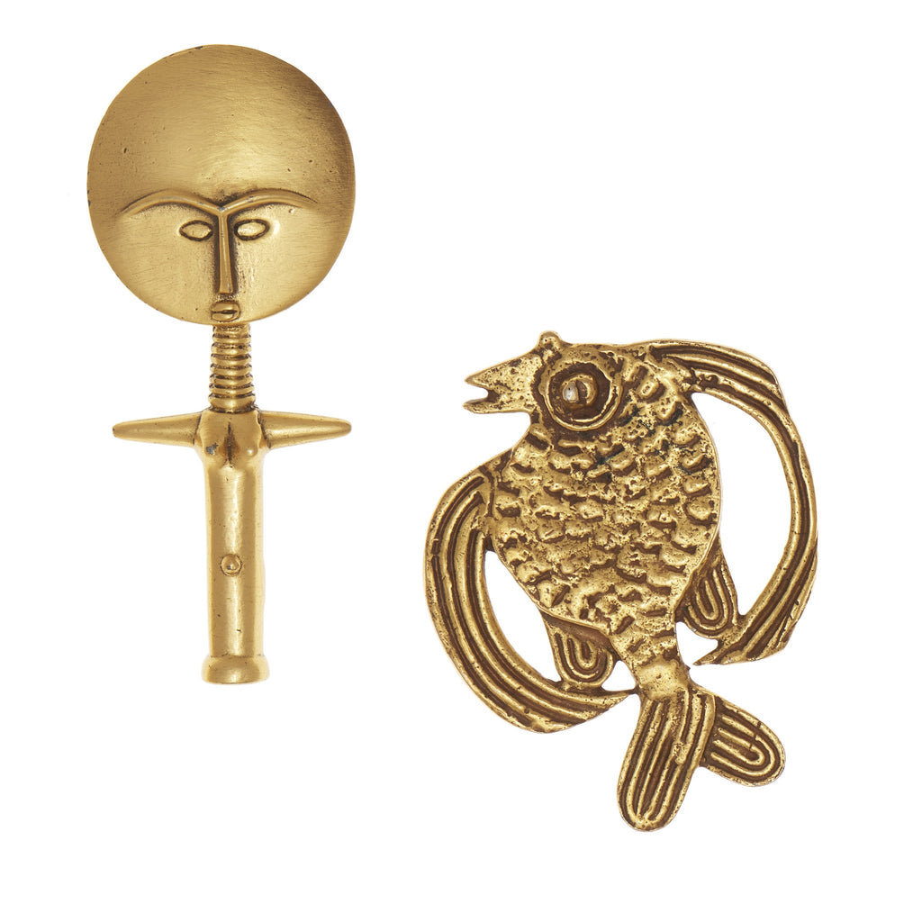 Akua'ba Amulet Brooch & Fish Pin