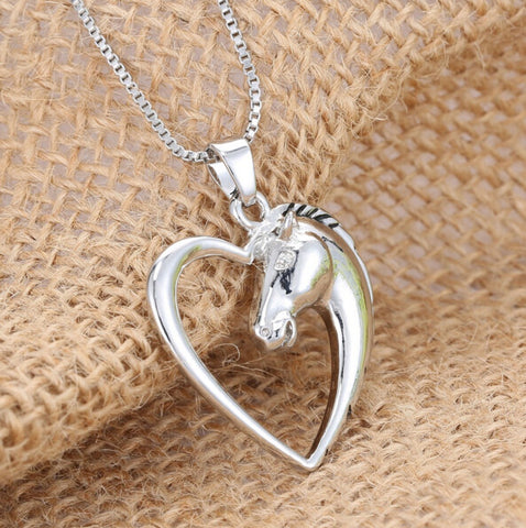 Beautiful Silver Plated Horse In Heart Necklace