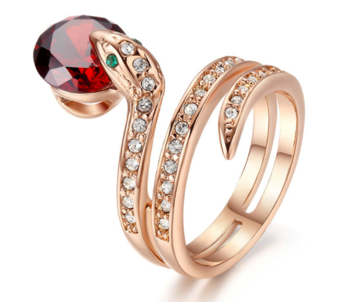 Gorgeous Rose Gold Snake Ring With a Ruby Red Rhinestone