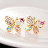 * FREE - Gorgeous Colorful Crystal Butterfly Earrings