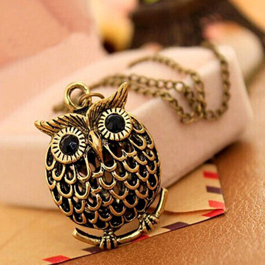 Golden Wise Owl Pendant Necklace