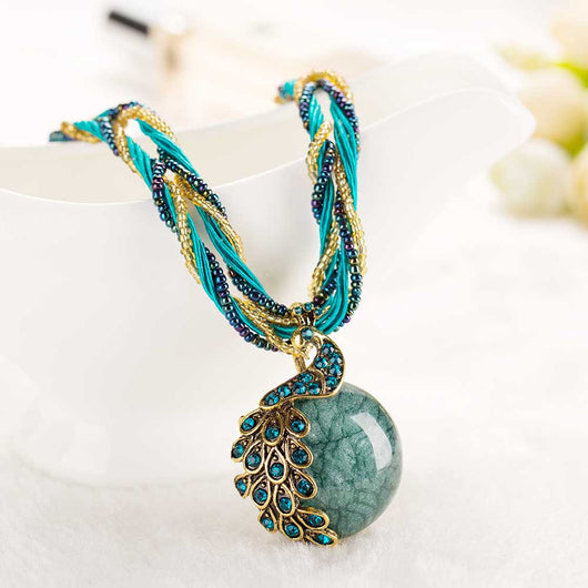 Beaded Peacock Stone Pendant Necklace