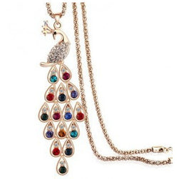 Elegant and Timeless Colorful Rhinestone Peacock Fashion Necklace