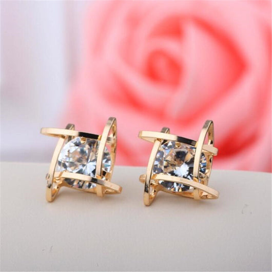 Lovely Square Studs With Sparkling Cubic Zirconia Center Earrings
