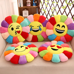 Emoji Flower Multicolor Plush Pillow Cushions