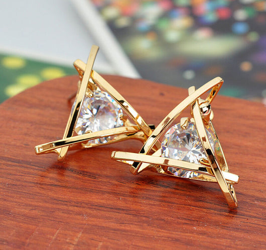 Beautiful Golden Triangle With Sparkling Cubic Zirconia Center Earrings