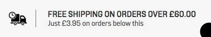 free shipping on orders over £60