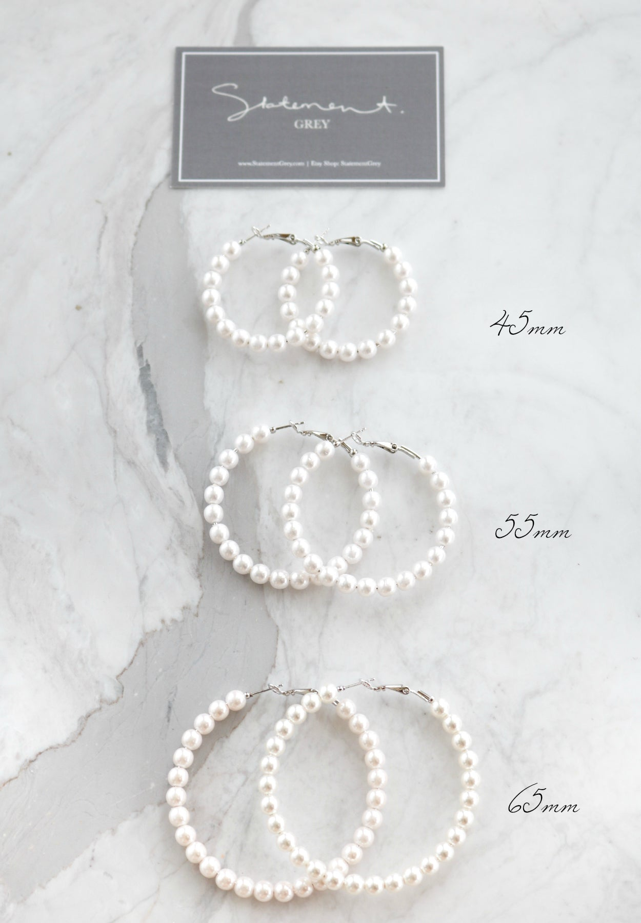 Pearl Hoop Earrings - 65mm