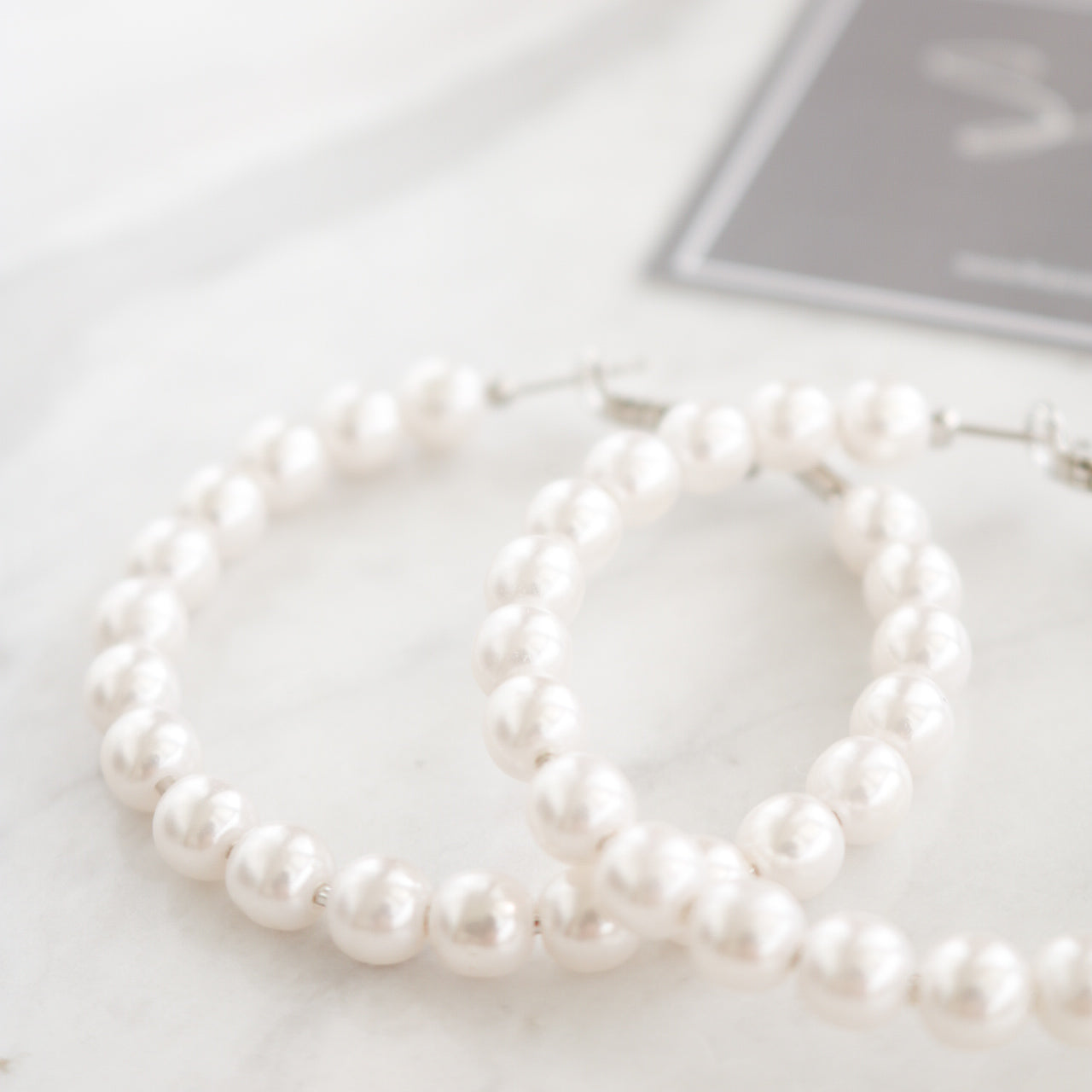 Pearl Hoop Earrings - 55mm