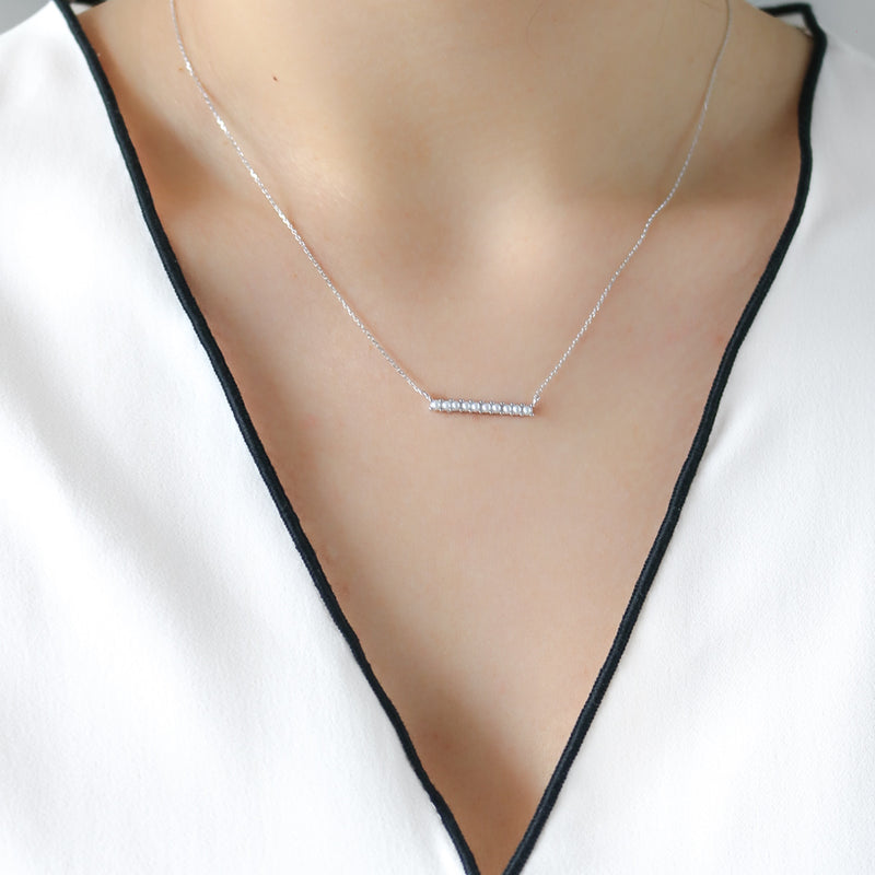 Pearl Bar Necklace - Sterling Silver