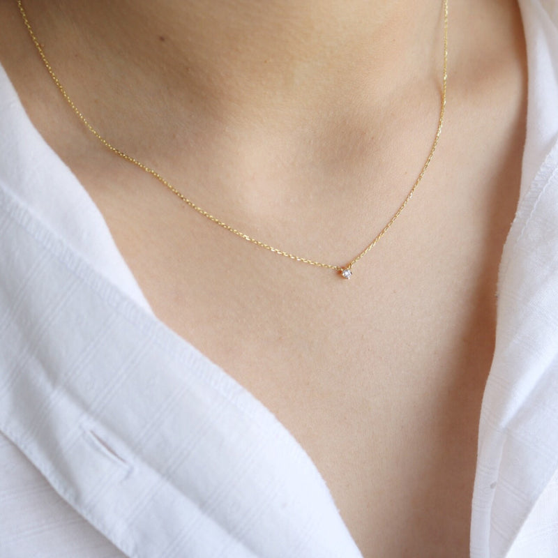 Petite Crystal Necklace - Sterling Silver