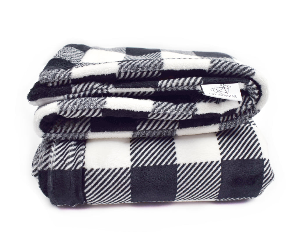 3-Layer Plush Minky Blanket | Black + White Buffalo Plaid - Cozy Cottontail