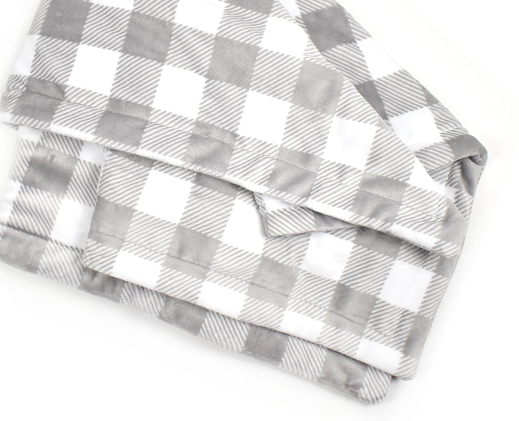 3-Layer Plush Minky Blanket | Gray Plaid - Cozy Cottontail