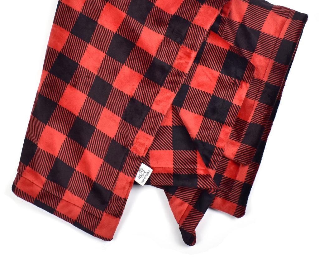 3-Layer Plush Minky Blanket | Red Buffalo Plaid - Cozy Cottontail