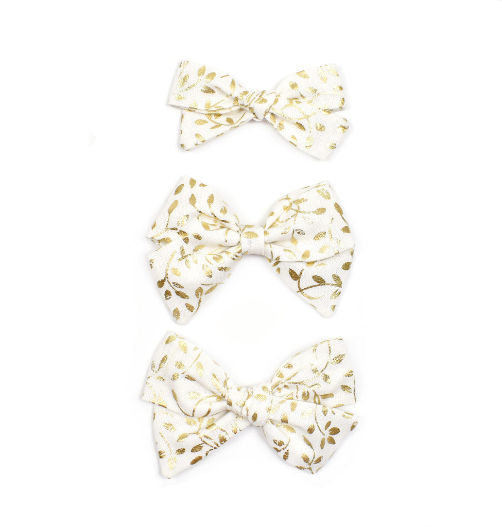 Gold Vine Leaf Bow - Cozy Cottontail