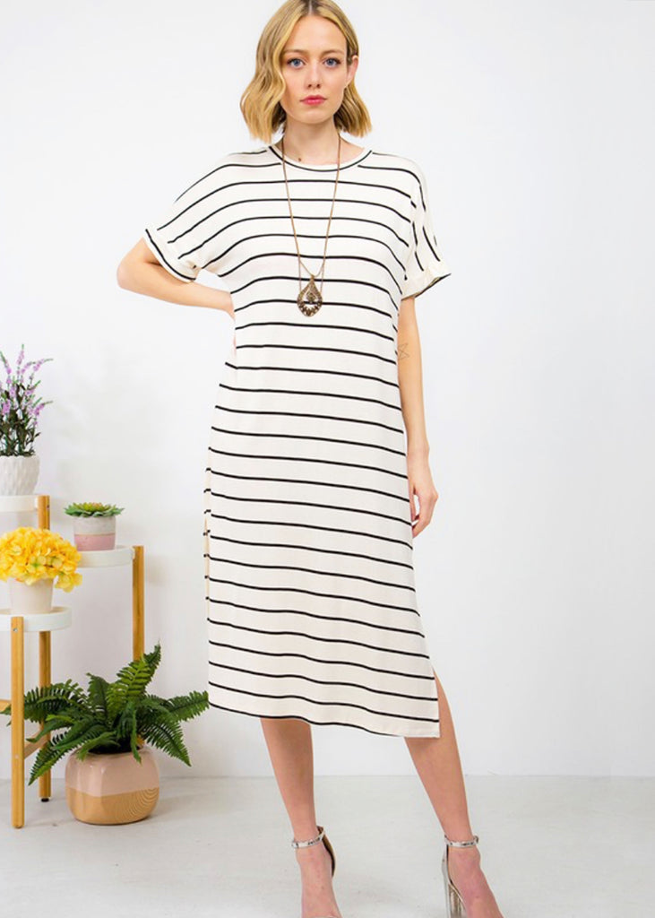 The Taylor Striped Tee Dress | Off White + Black - Cozy Cottontail