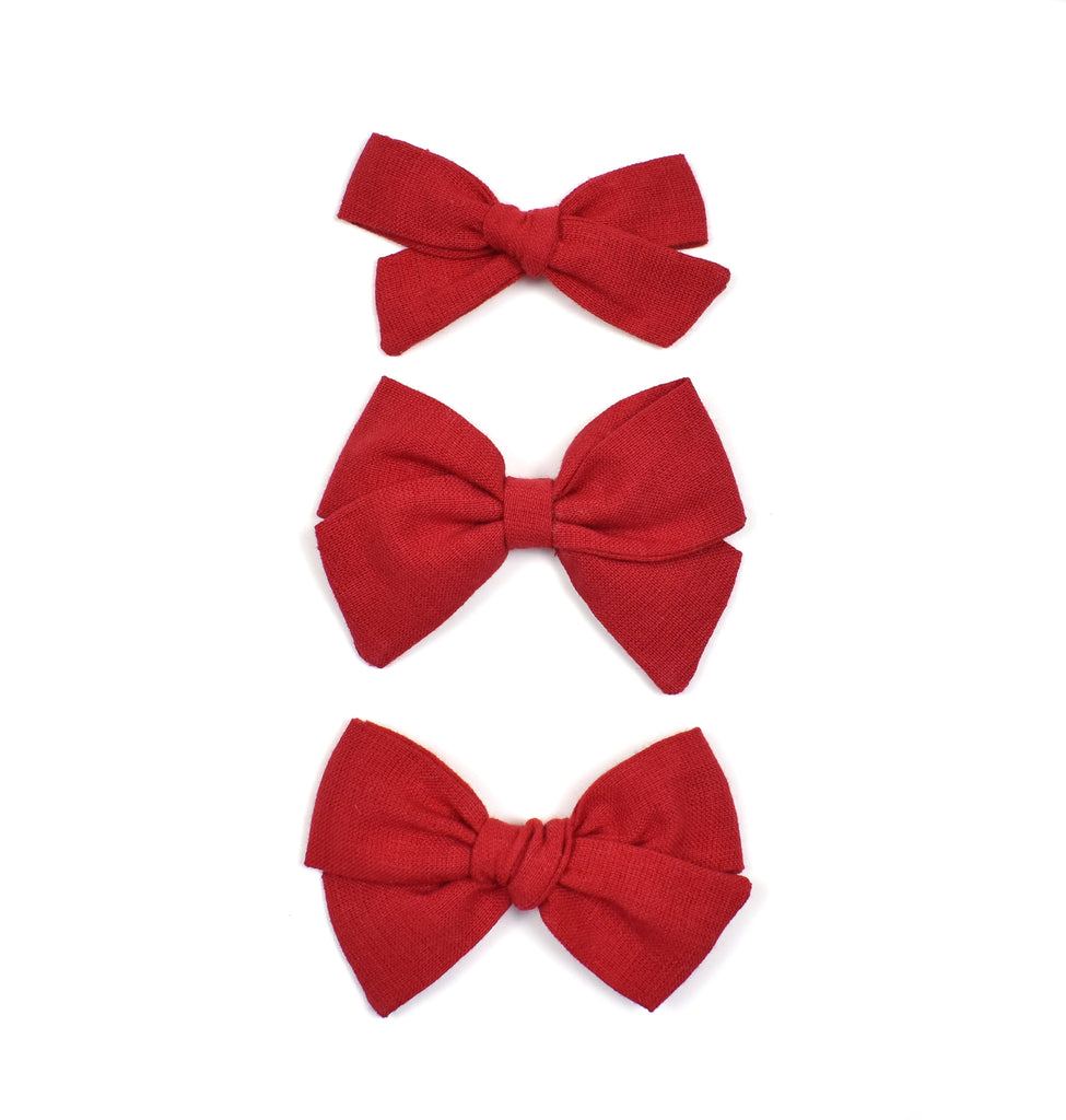 Red Linen Bows - Cozy Cottontail