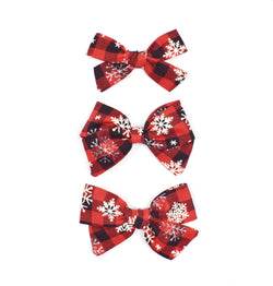 Red Buffalo Plaid Snowflake Bows