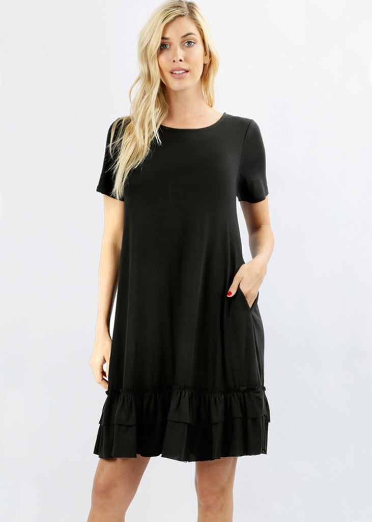 The Harper Ruffled Hem Dress | Black - Cozy Cottontail