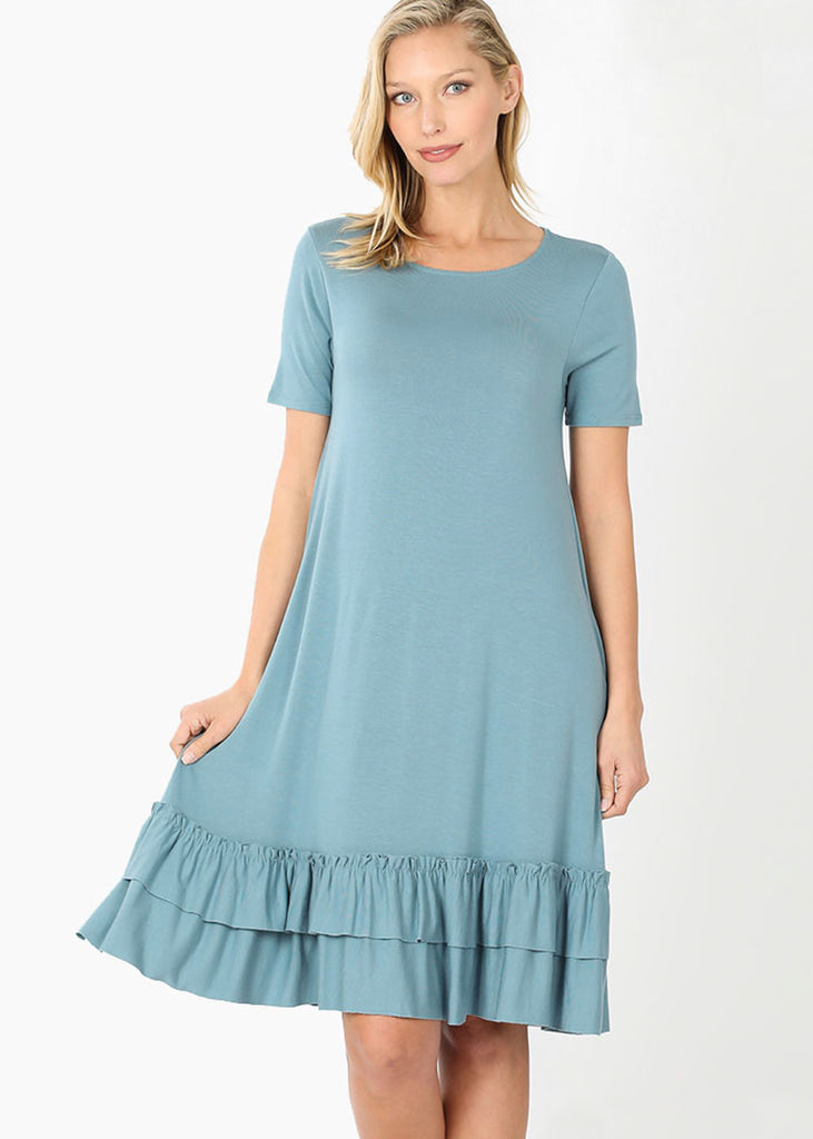 The Harper Ruffled Hem Dress | Blue Gray - Cozy Cottontail